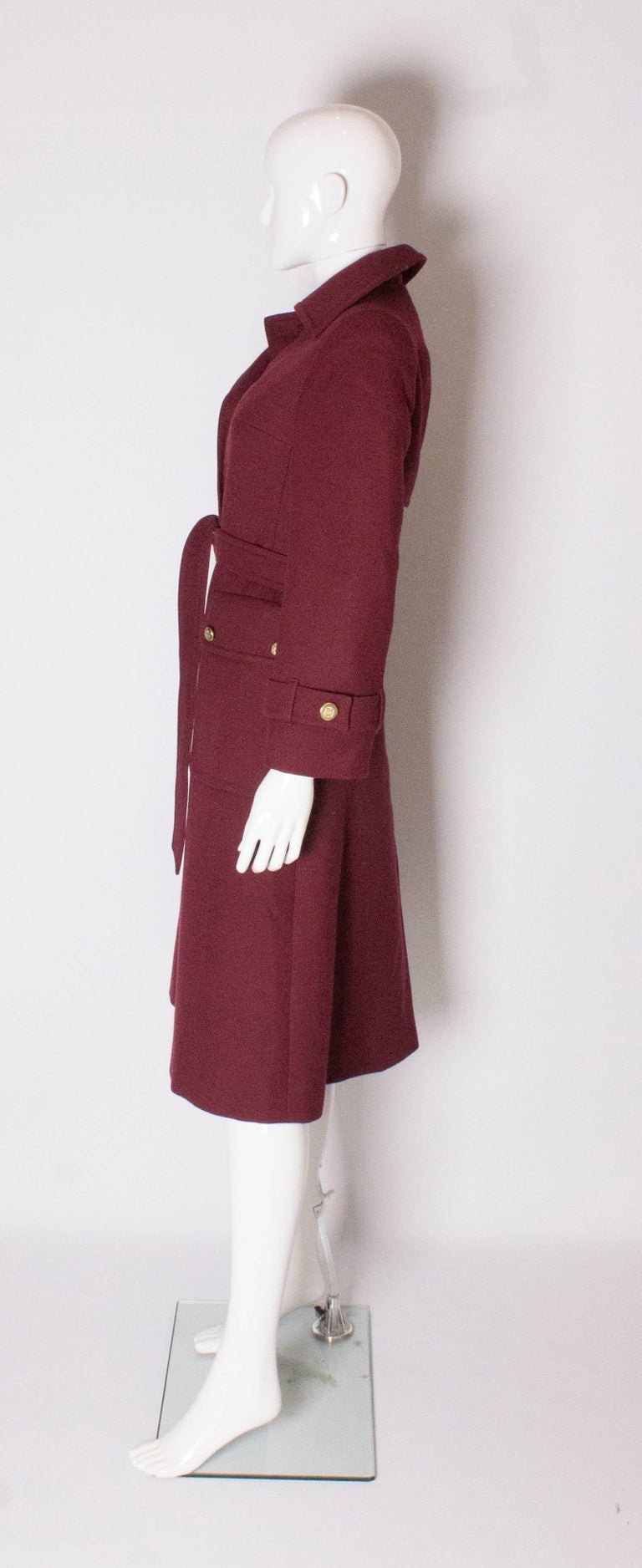 Burgundy Wool Coat by Aquascutum In Good Condition For Sale In London, GB