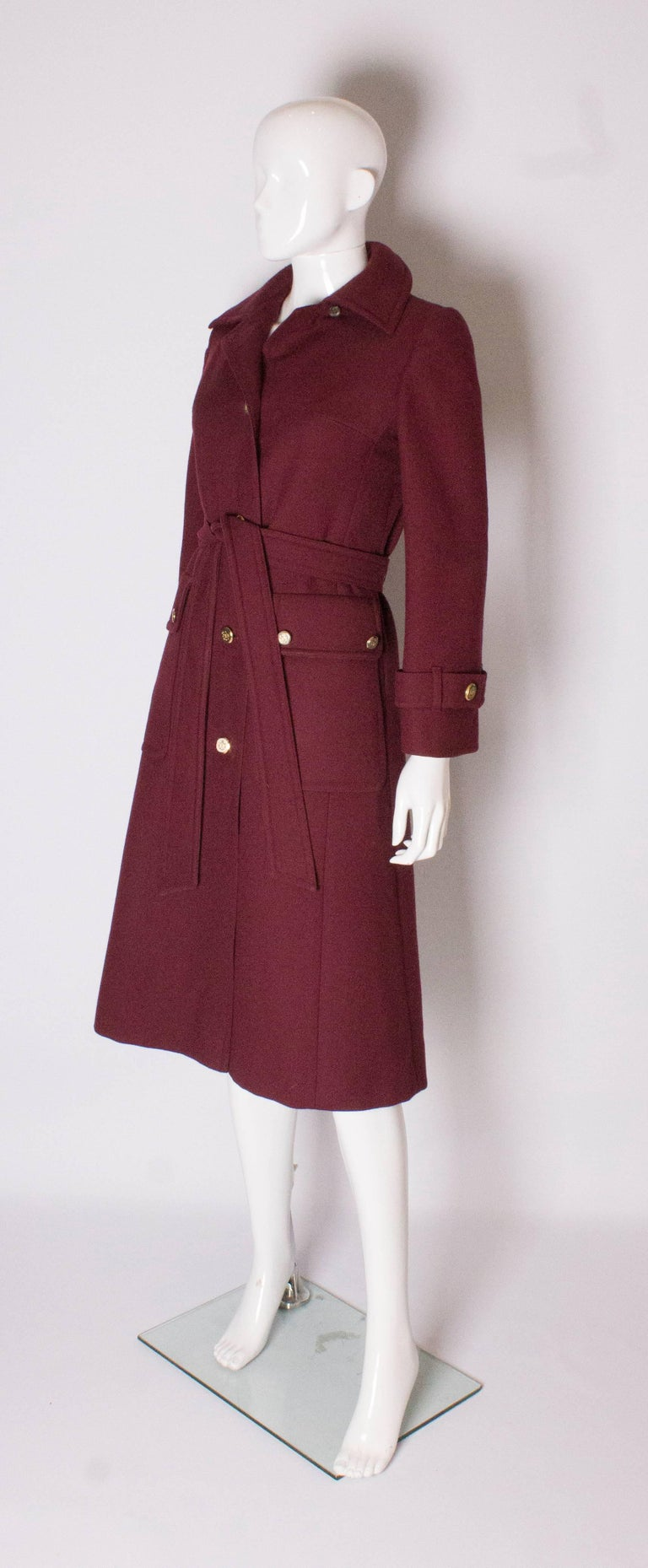 Brown Burgundy Wool Coat by Aquascutum For Sale