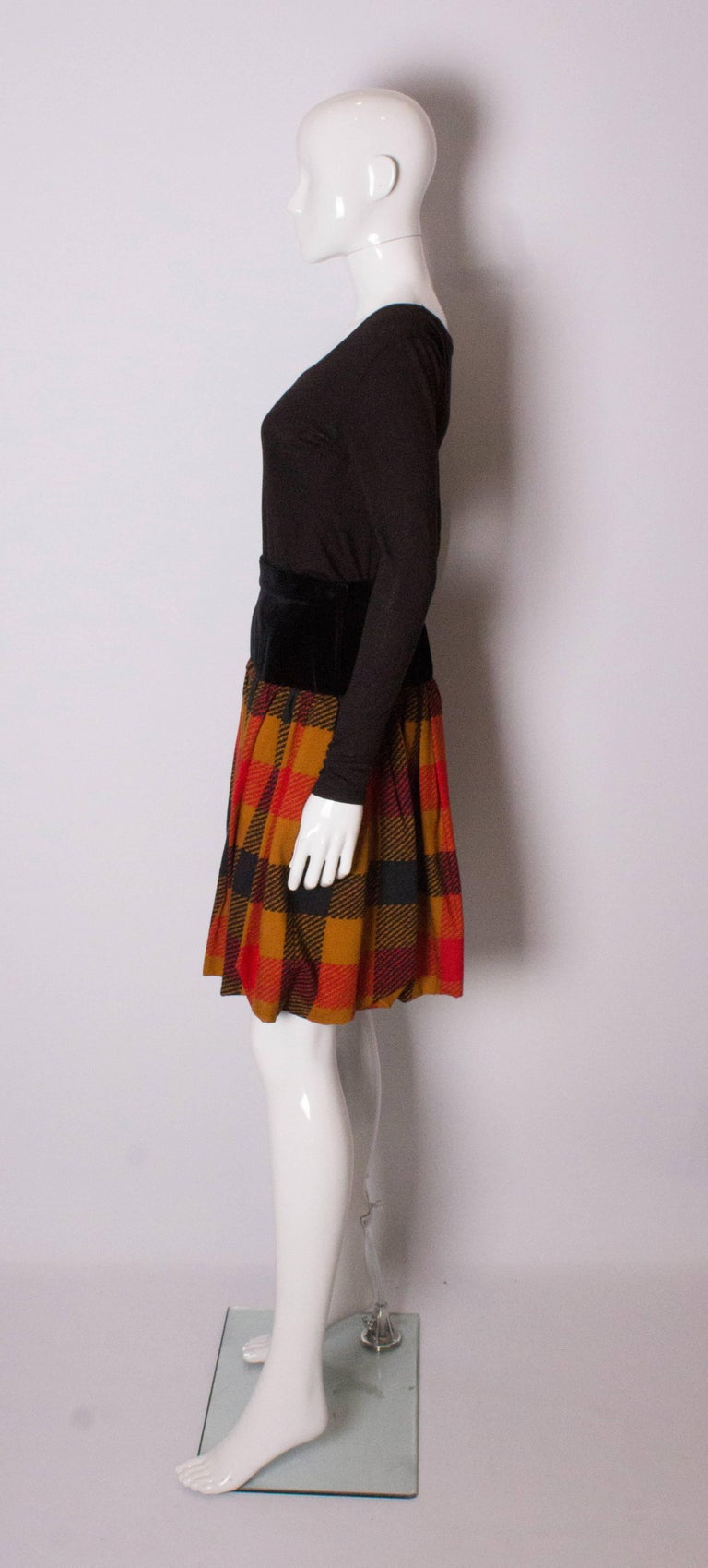 Yves Saint  Laurent Velvet and Wool Skirt In Excellent Condition For Sale In London, GB