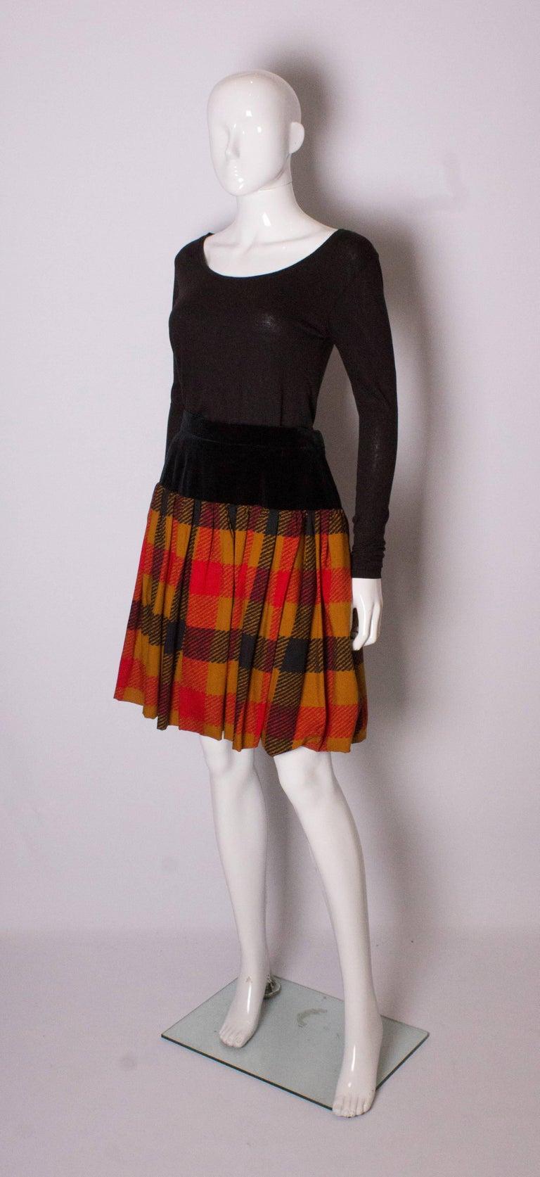 Brown Yves Saint  Laurent Velvet and Wool Skirt For Sale