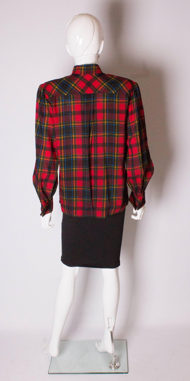 Yves Saint Laurent Red Check Blouse For Sale 1