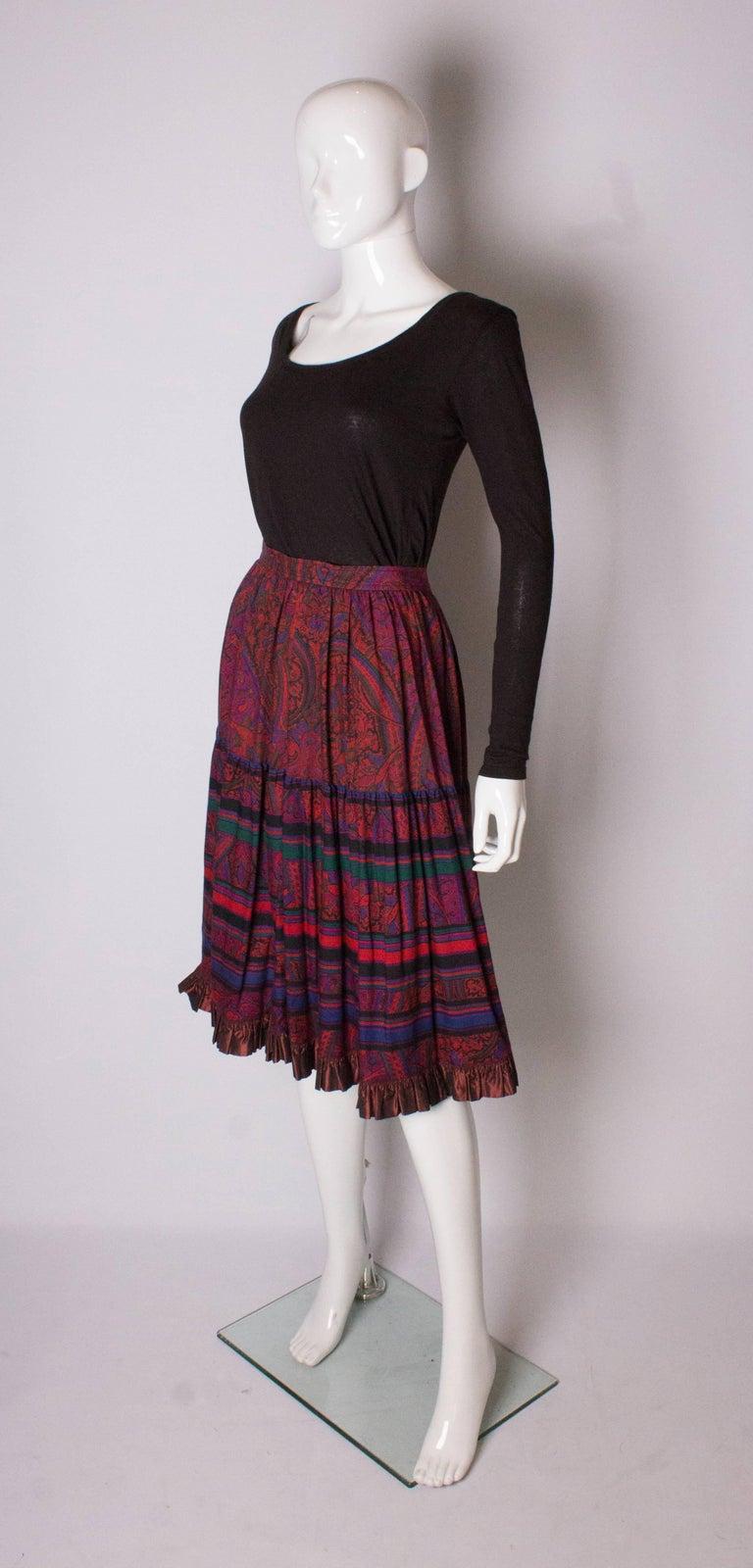 Black Yves saint Laurent Rive Gauche  Paisley Print  Skirt For Sale