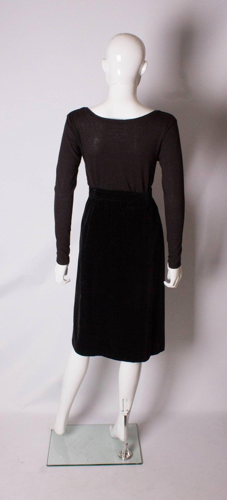 Yves Saint Laurent Vintage Velvet Skirt For Sale 2