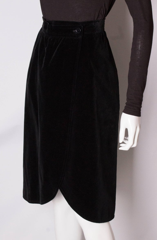 Yves Saint Laurent Vintage Velvet Skirt In Good Condition For Sale In London, GB
