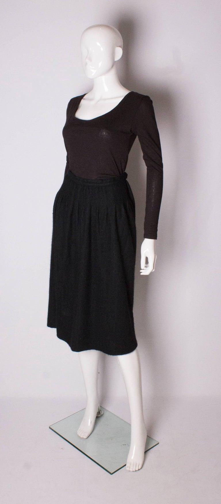 Black Yves Saint Laurent Vintage Rive Gauche Cashmere Skirt For Sale