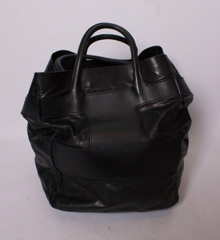 Women's Bally Black Leather Bucket Bag For Sale