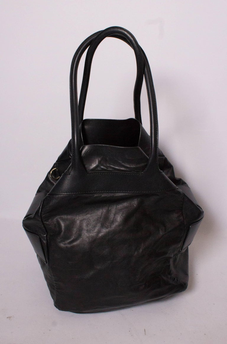 Bally Black Leather Bucket Bag For Sale 2