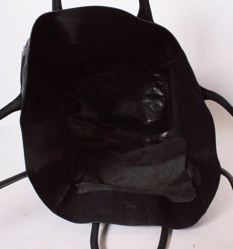 Bally Black Leather Bucket Bag For Sale 4