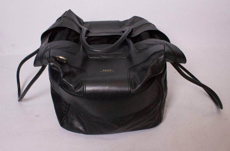 Bally Black Leather Bucket Bag For Sale 3