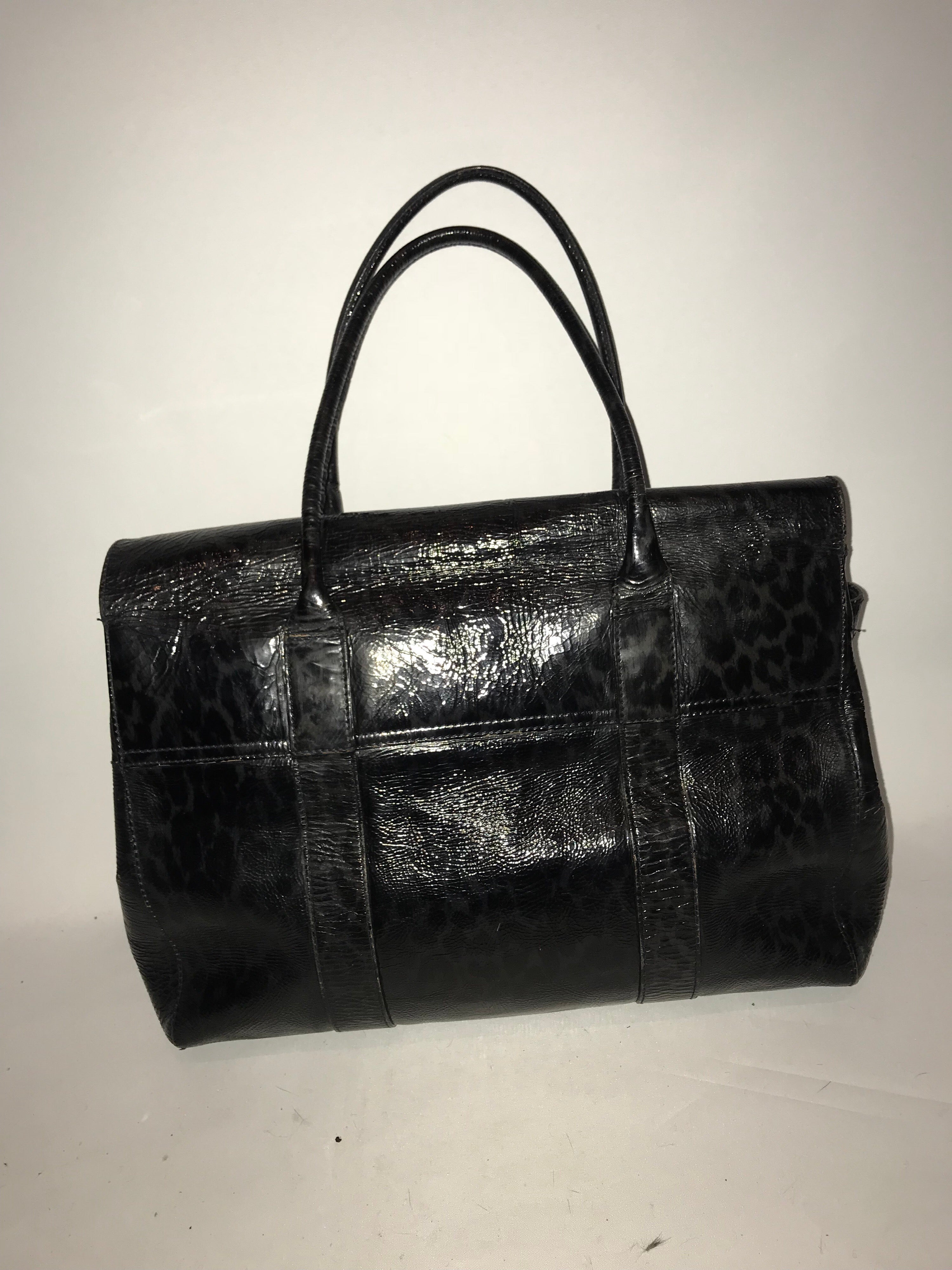 A Mulberry bayswater satchel bag in leopard print patent leather tote blue  black at 1stdibs 186bf0964c16d