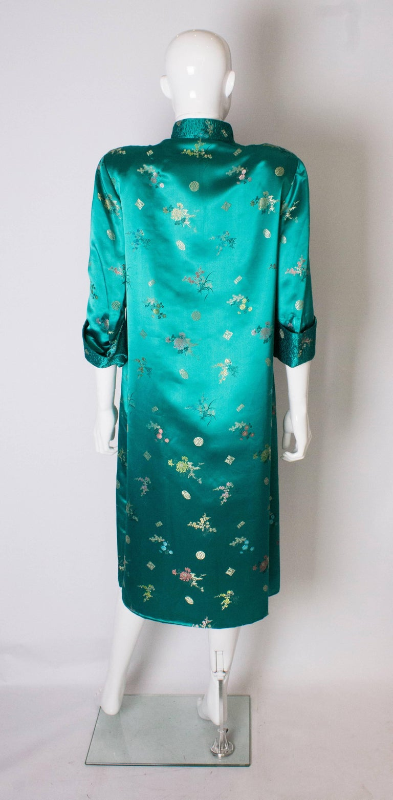 A Vintage 1970s turquoise Chinese Coat with Standup Collar & Decorative Pockets For Sale 2
