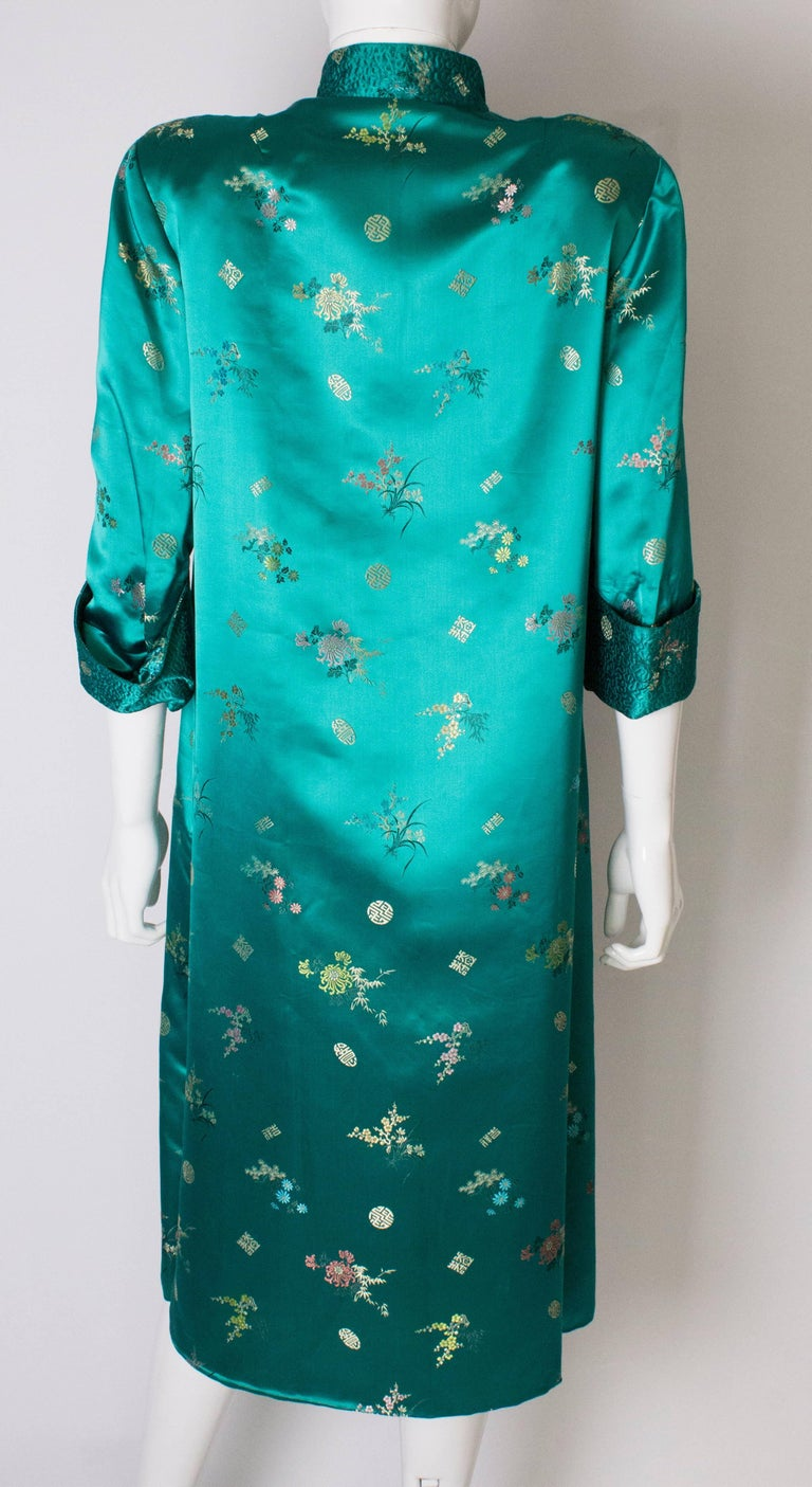 A Vintage 1970s turquoise Chinese Coat with Standup Collar & Decorative Pockets For Sale 3