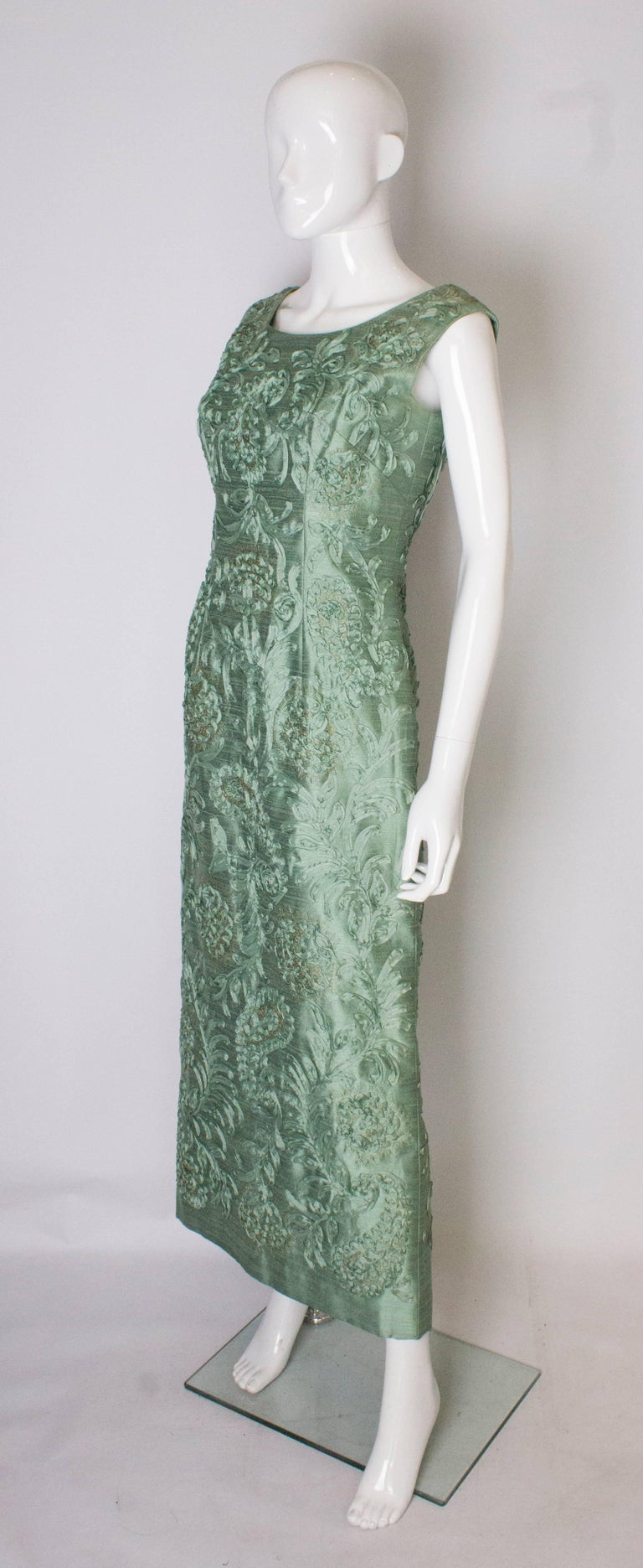Gray A Vintage 1960s Sage Green evening Gown with Ribbon Detail For Sale