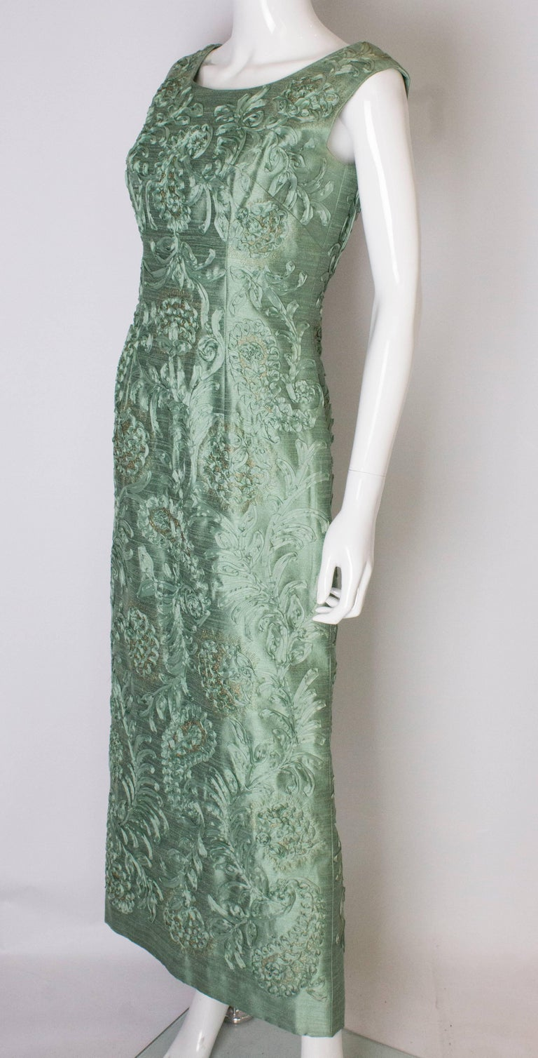 A Vintage 1960s Sage Green evening Gown with Ribbon Detail In Good Condition For Sale In London, GB