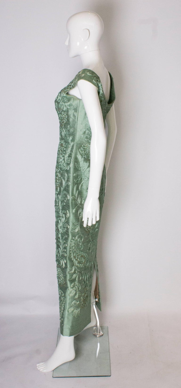 A Vintage 1960s Sage Green evening Gown with Ribbon Detail For Sale 1