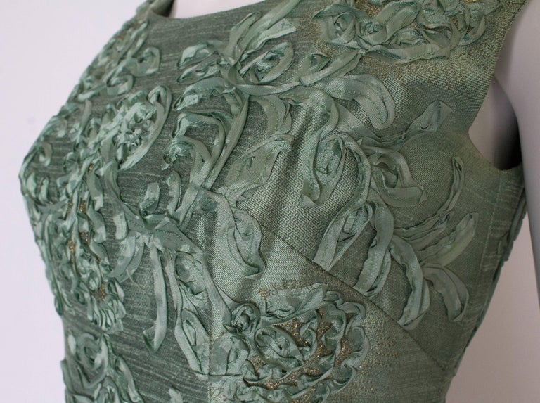 Women's A Vintage 1960s Sage Green evening Gown with Ribbon Detail For Sale