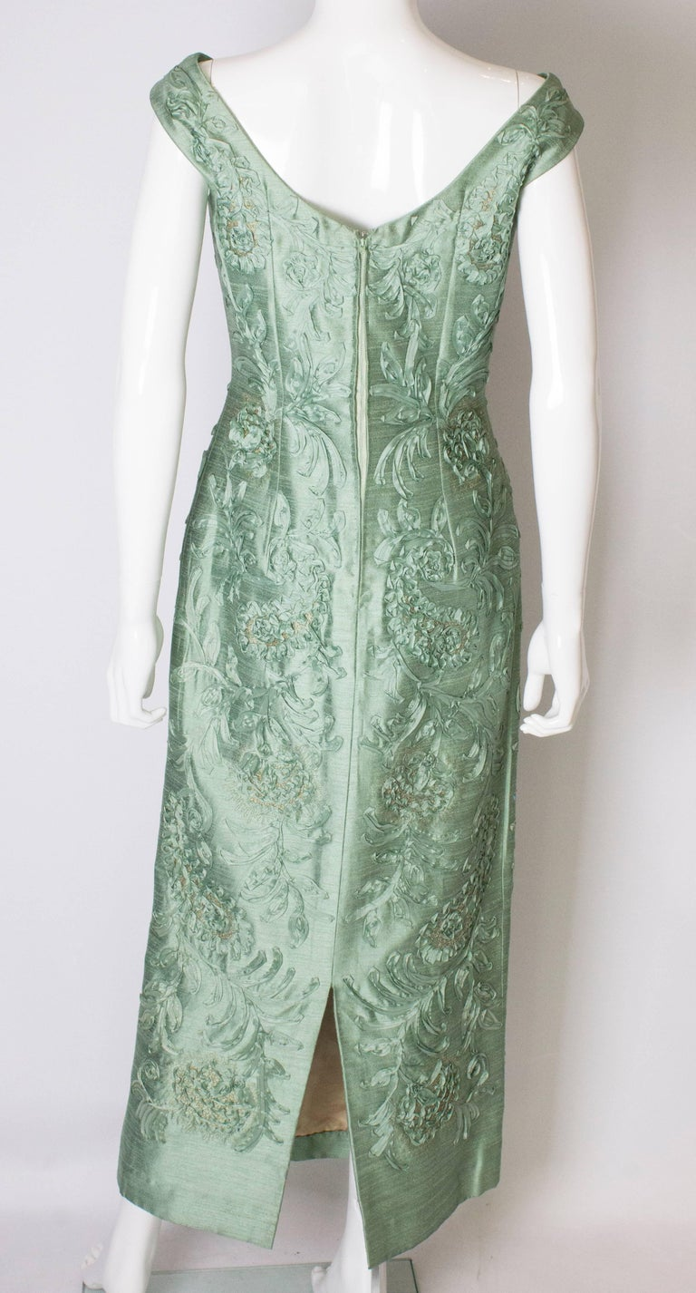 A Vintage 1960s Sage Green evening Gown with Ribbon Detail For Sale 5