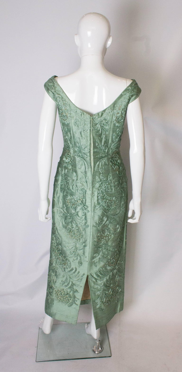 A Vintage 1960s Sage Green evening Gown with Ribbon Detail For Sale 3