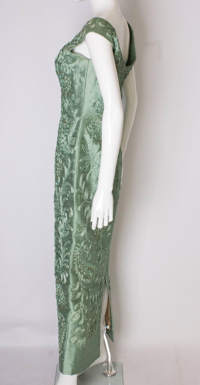 A Vintage 1960s Sage Green evening Gown with Ribbon Detail For Sale 2