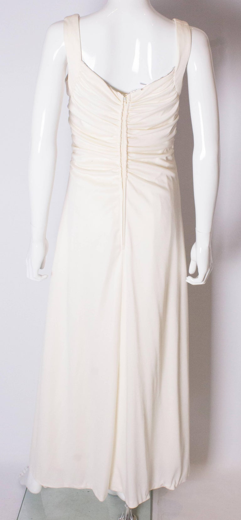 A Vintage 1970s cream evening dress by Maddison Avenue London  For Sale 3