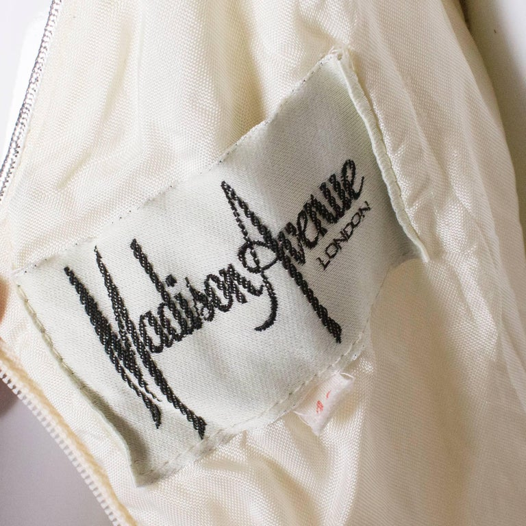A Vintage 1970s cream evening dress by Maddison Avenue London  For Sale 4