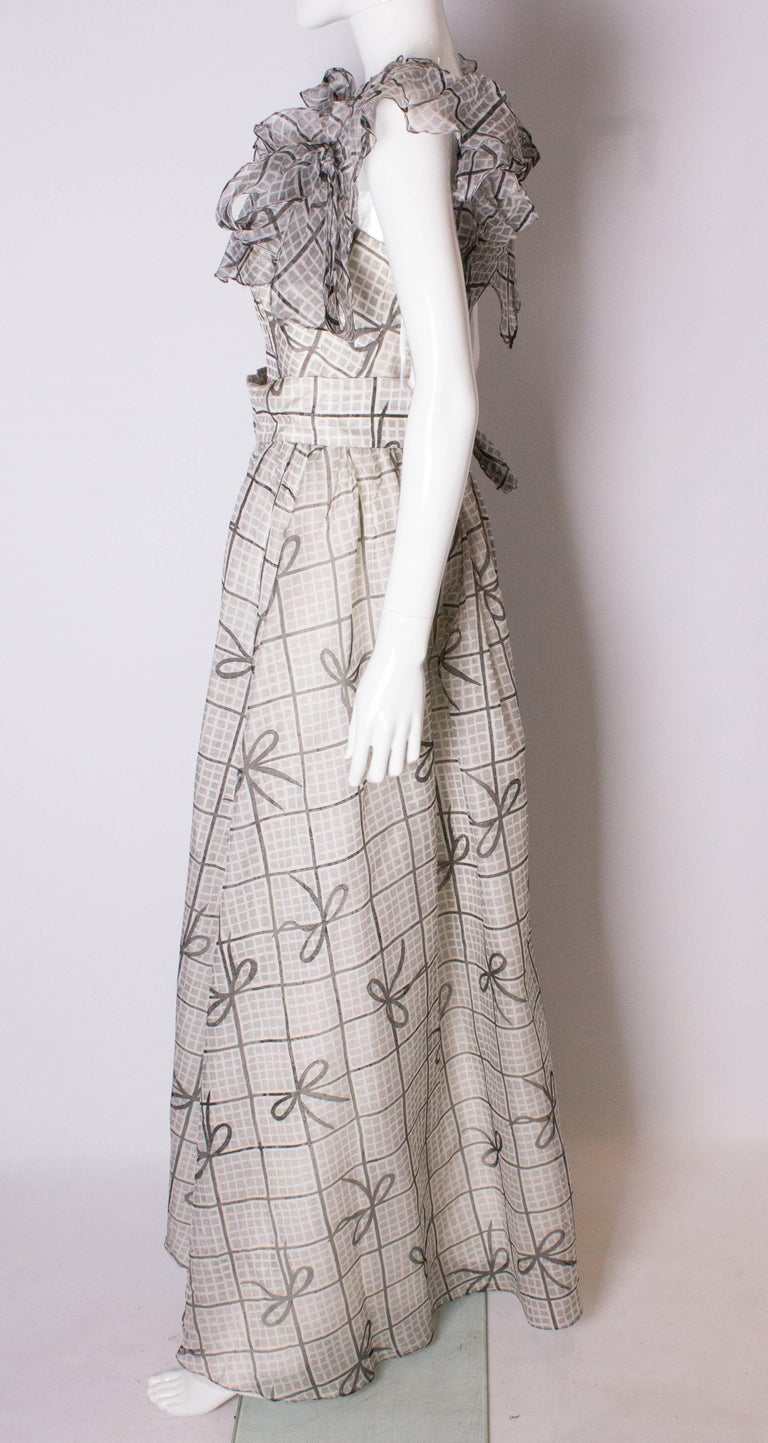 A Vintage 1970s grey printed silk evening gown by Gina Fratini For Sale 1