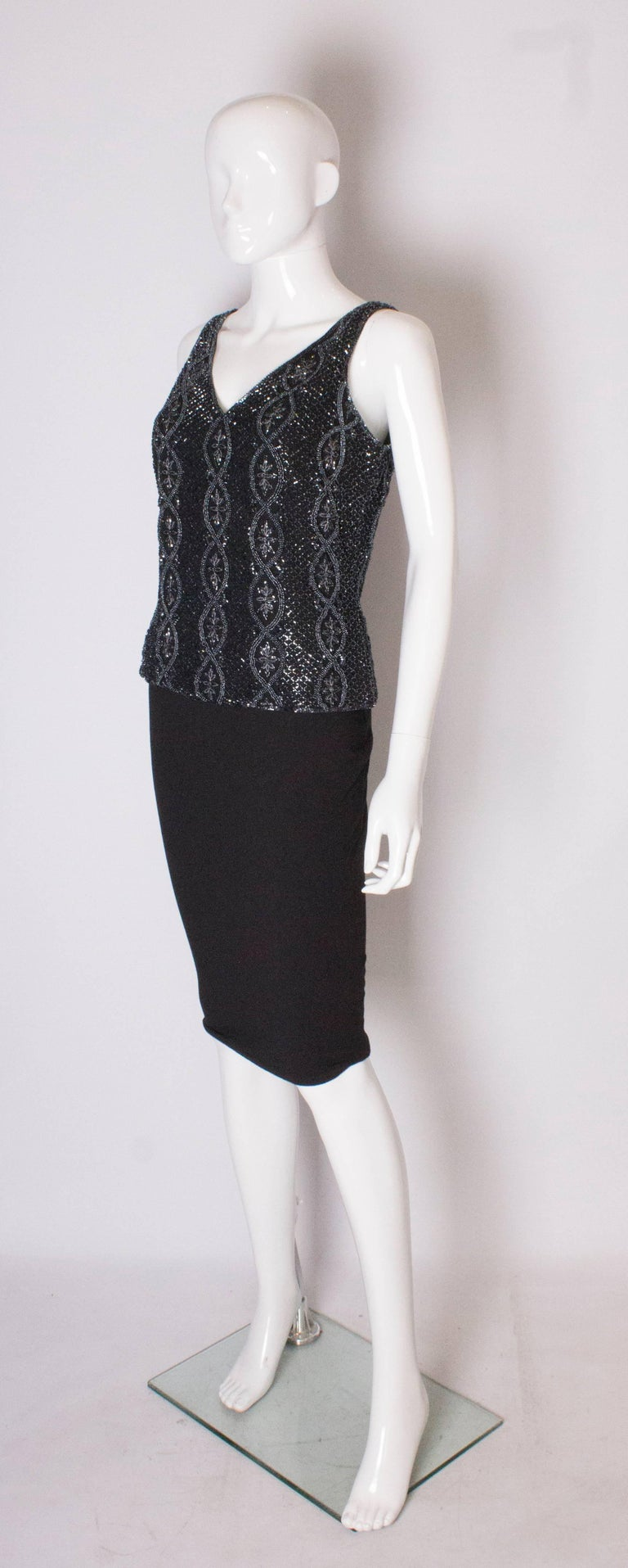 Black A Vintage 1980s black Beaded Evening Top by Adrianna Papelle For Sale