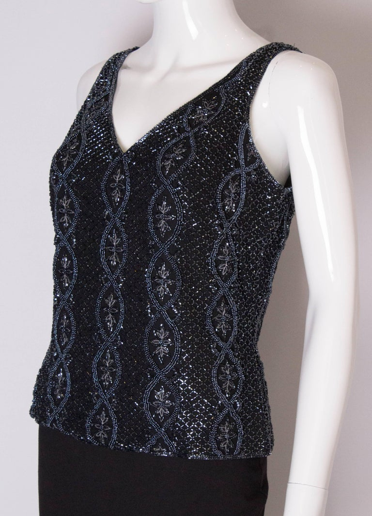 A Vintage 1980s black Beaded Evening Top by Adrianna Papelle In Good Condition For Sale In London, GB