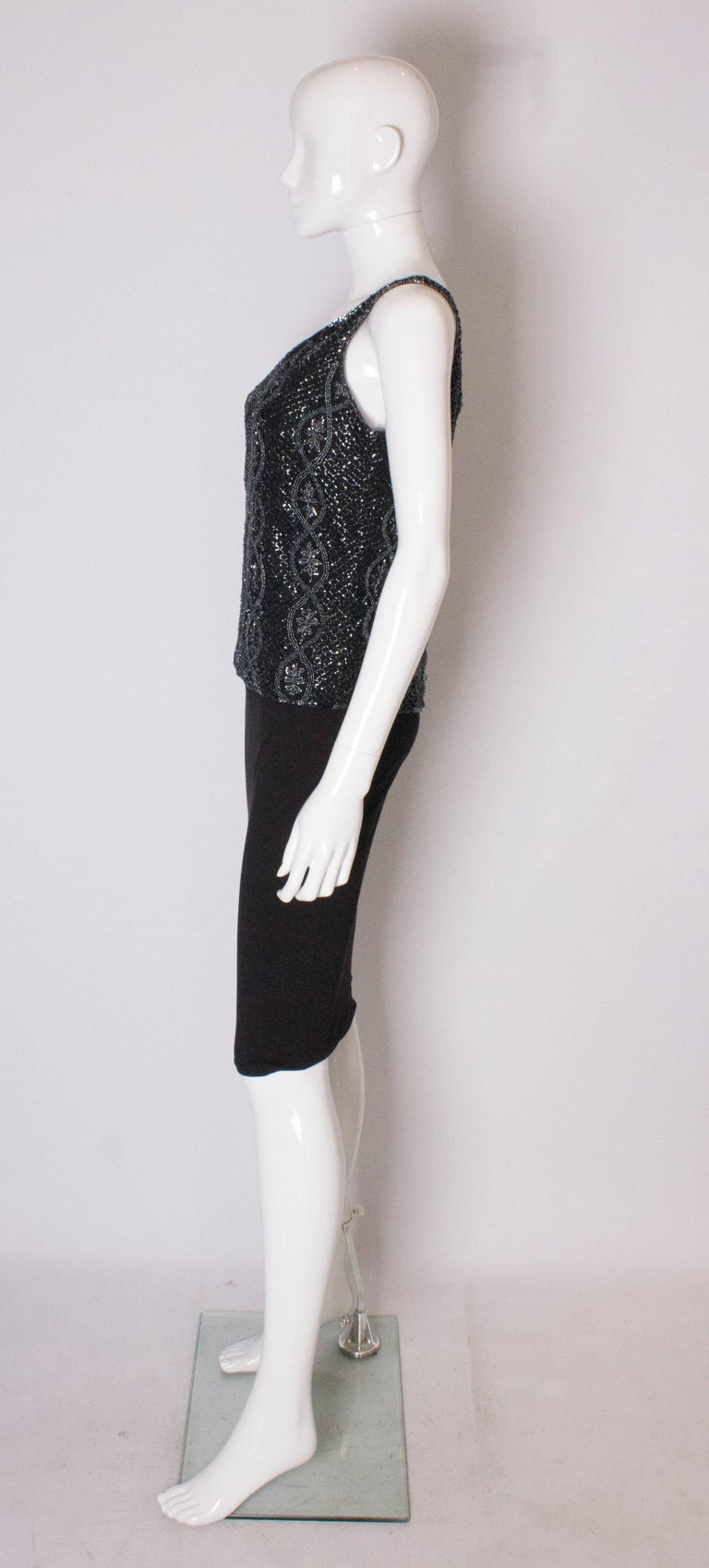 Women's A Vintage 1980s black Beaded Evening Top by Adrianna Papelle For Sale