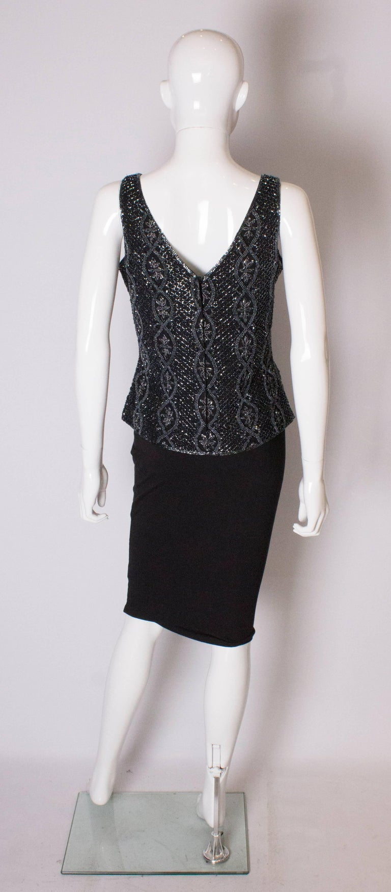 A Vintage 1980s black Beaded Evening Top by Adrianna Papelle For Sale 2