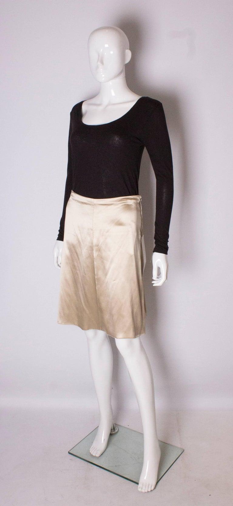 Beige A Vintage cream Silk evening Skirt by Valentino For Sale