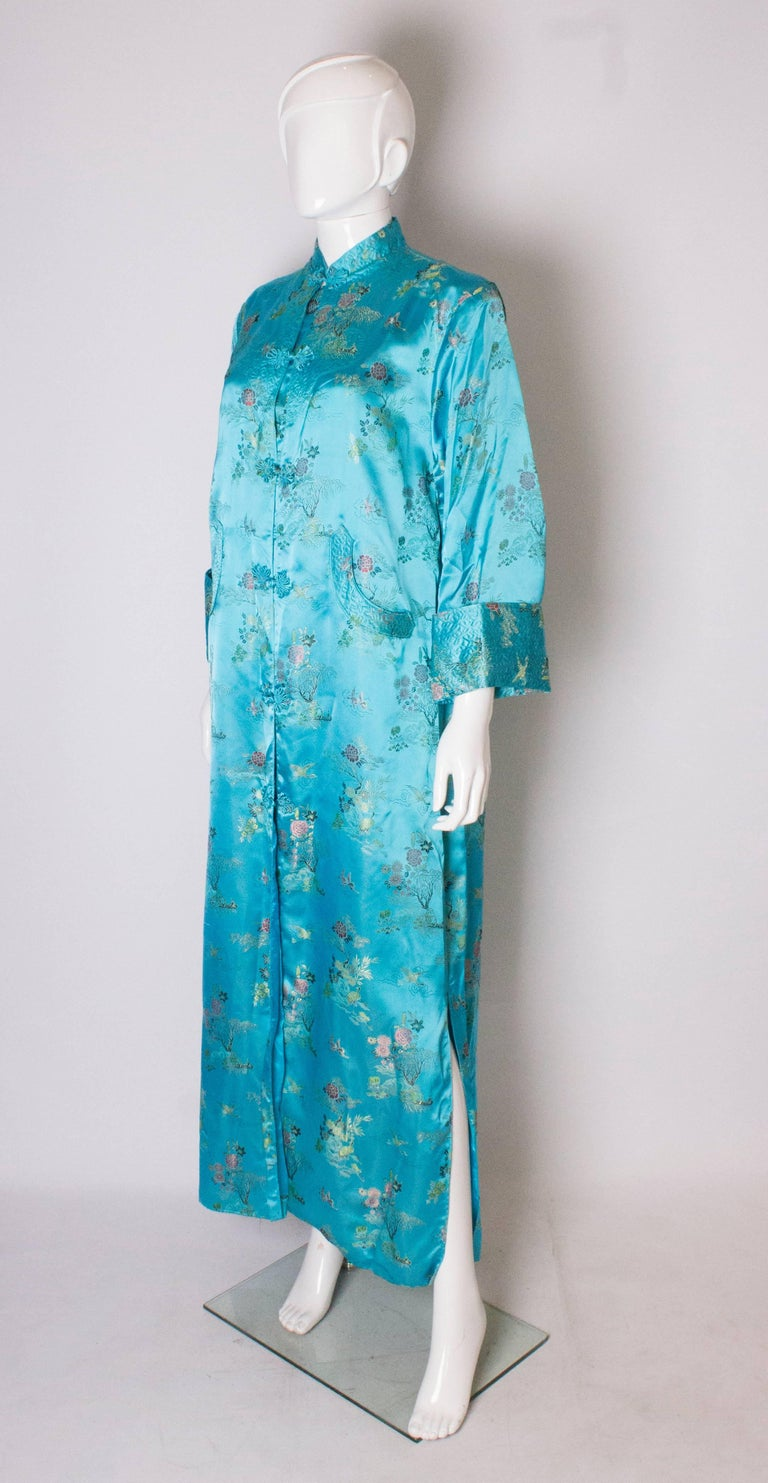 Blue A 1960s Vintage Turquoise chinese satin embroidered evening Coat For Sale
