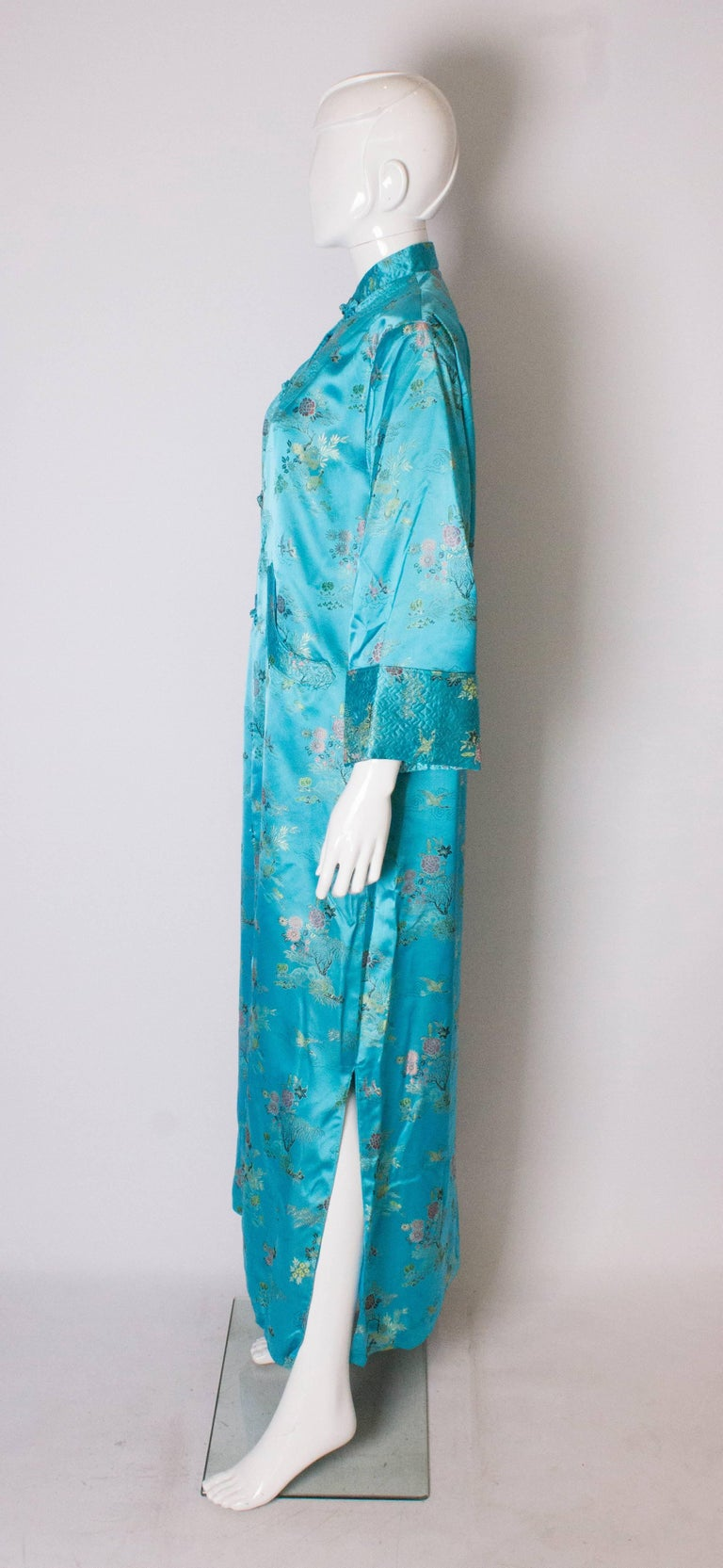 Women's A 1960s Vintage Turquoise chinese satin embroidered evening Coat For Sale