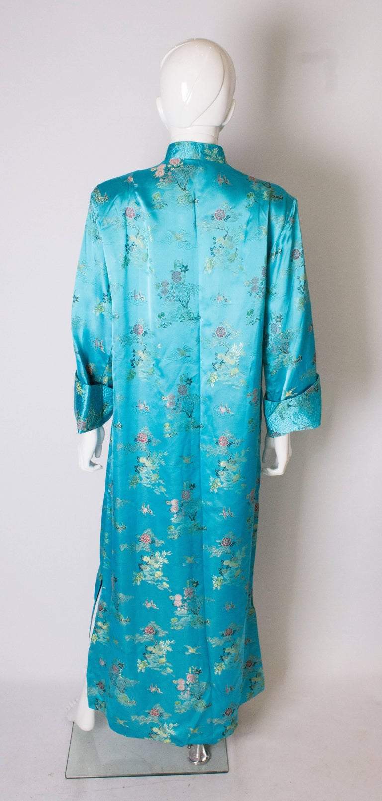 A 1960s Vintage Turquoise chinese satin embroidered evening Coat For Sale 2