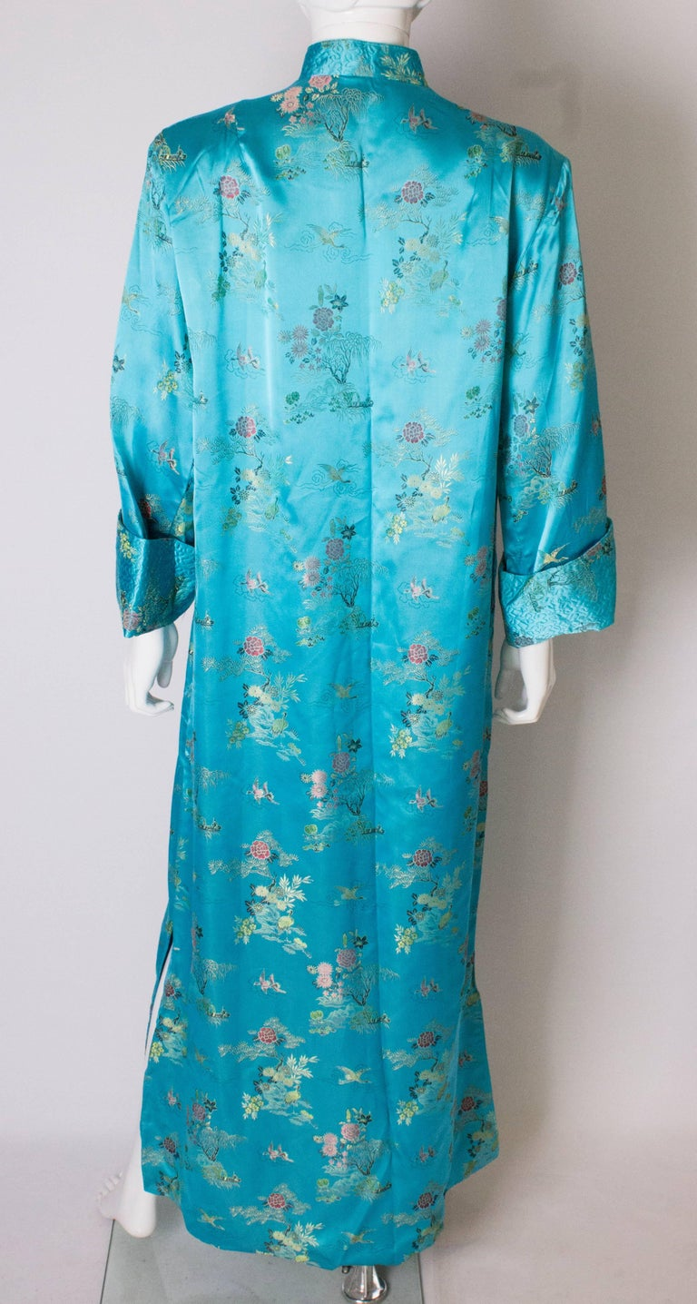 A 1960s Vintage Turquoise chinese satin embroidered evening Coat For Sale 3