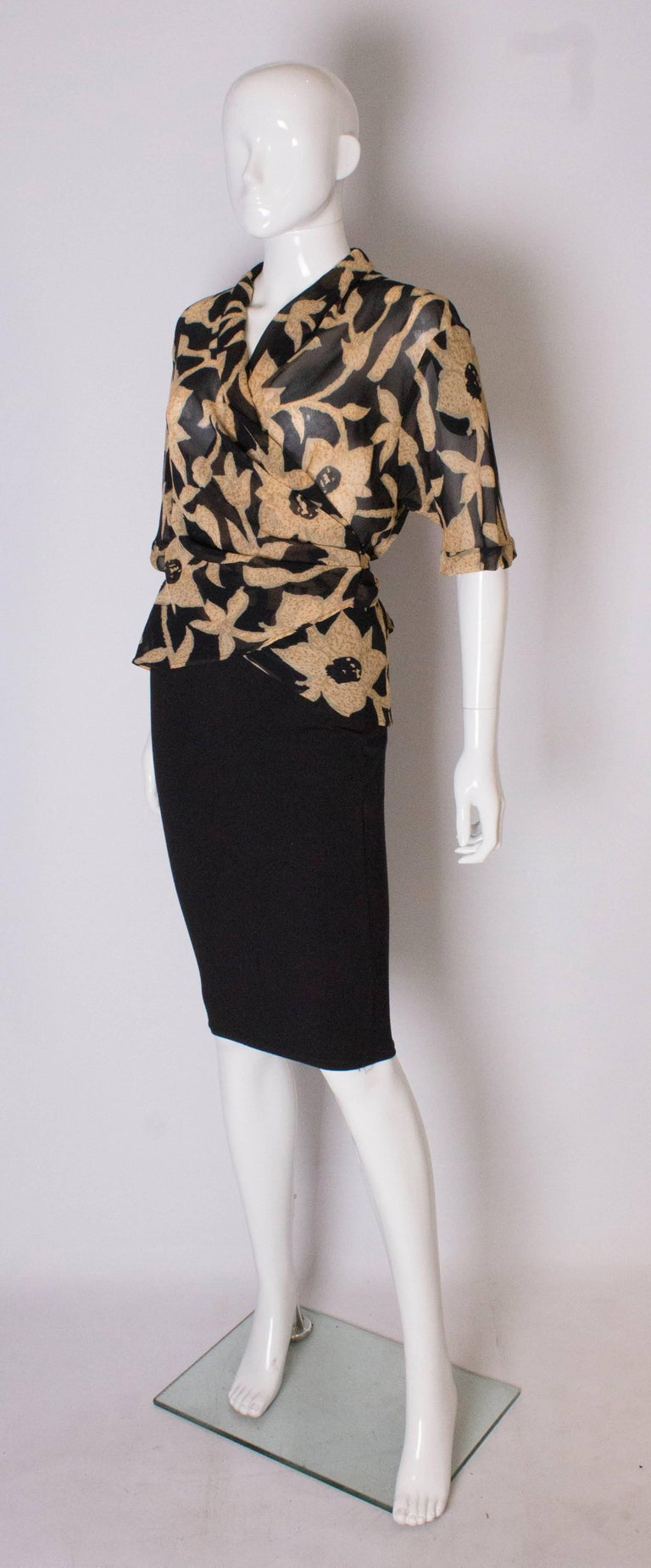 Black A 1990s Vintage Jeager wrap around floral Summer blouse For Sale