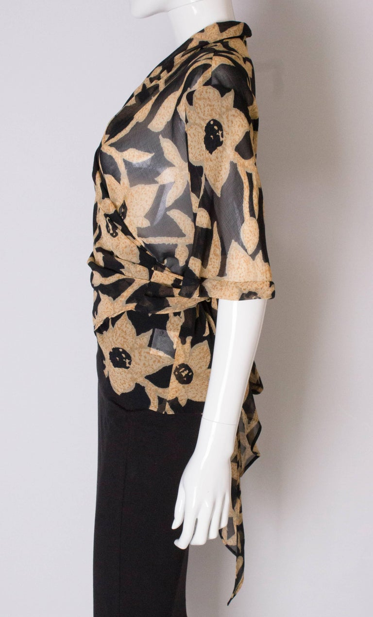 A 1990s Vintage Jeager wrap around floral Summer blouse For Sale 1