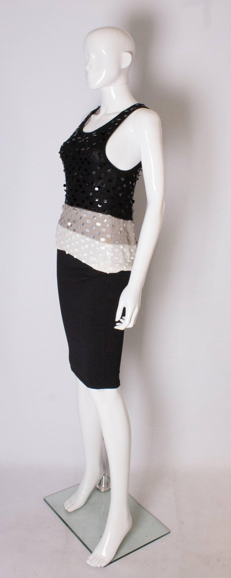 Gray A 1990s Vintage Sonia Rykiel knitted and Beaded Tank Top For Sale