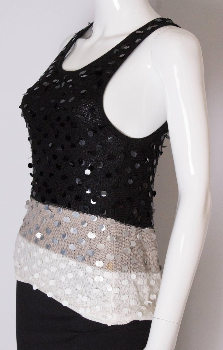 A 1990s Vintage Sonia Rykiel knitted and Beaded Tank Top In Good Condition For Sale In London, GB