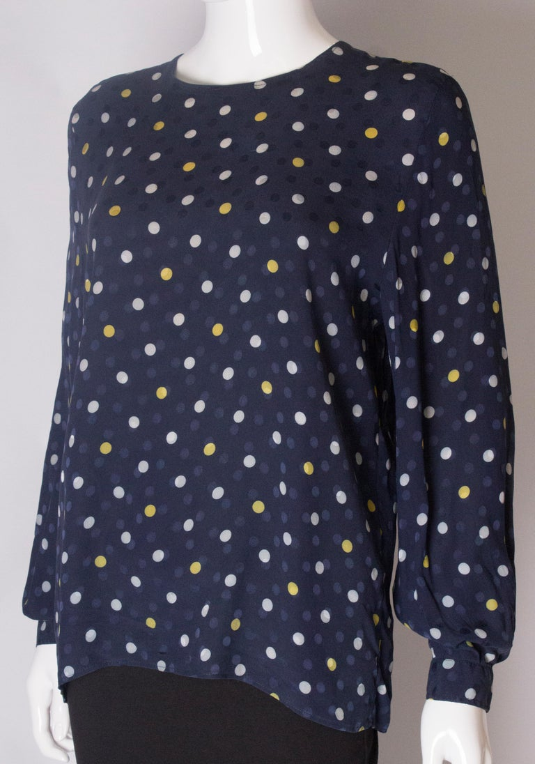 A Vintage 1990s navy polka dot silk blouse by Valentino  In Good Condition For Sale In London, GB