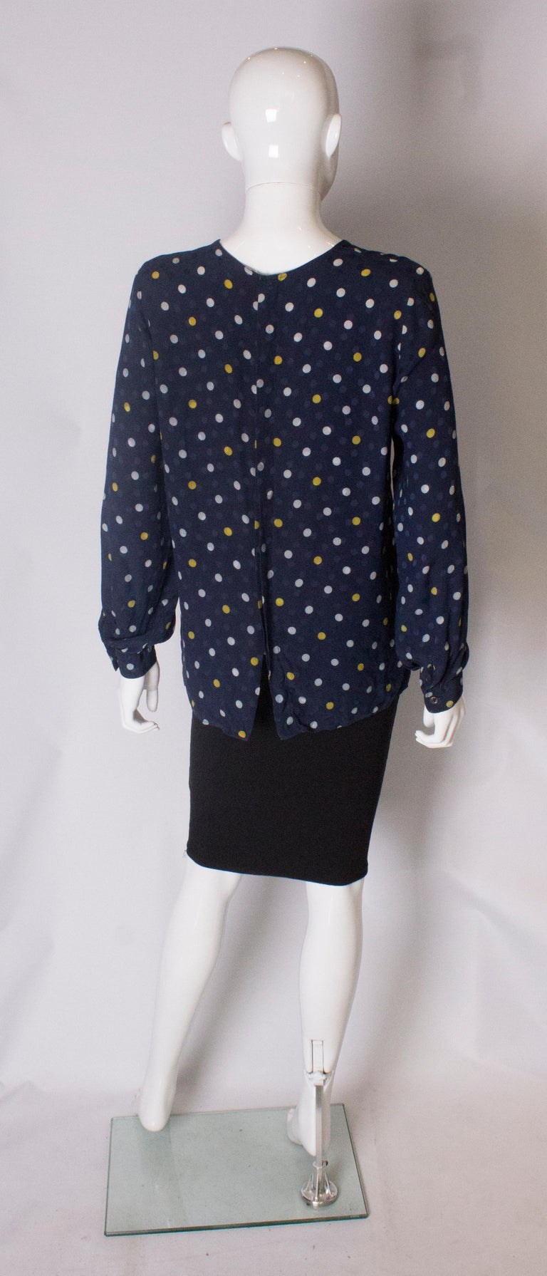 A Vintage 1990s navy polka dot silk blouse by Valentino  For Sale 2