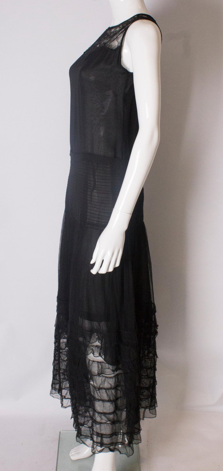 Vintage 1920s Black Evening Gown For Sale at 1stdibs