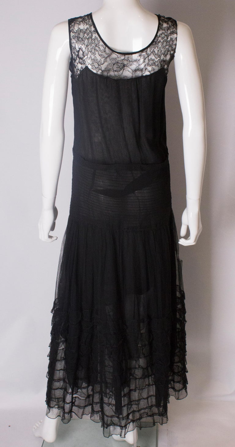 Vintage 1920s Black Evening Gown For Sale at 1stdibs
