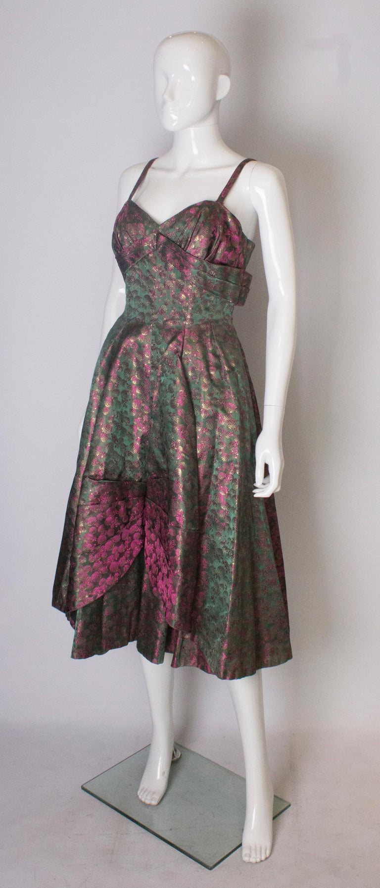 Gray A Vintage 1950s brocade structured swing Cocktail Dress in Pink And Green For Sale
