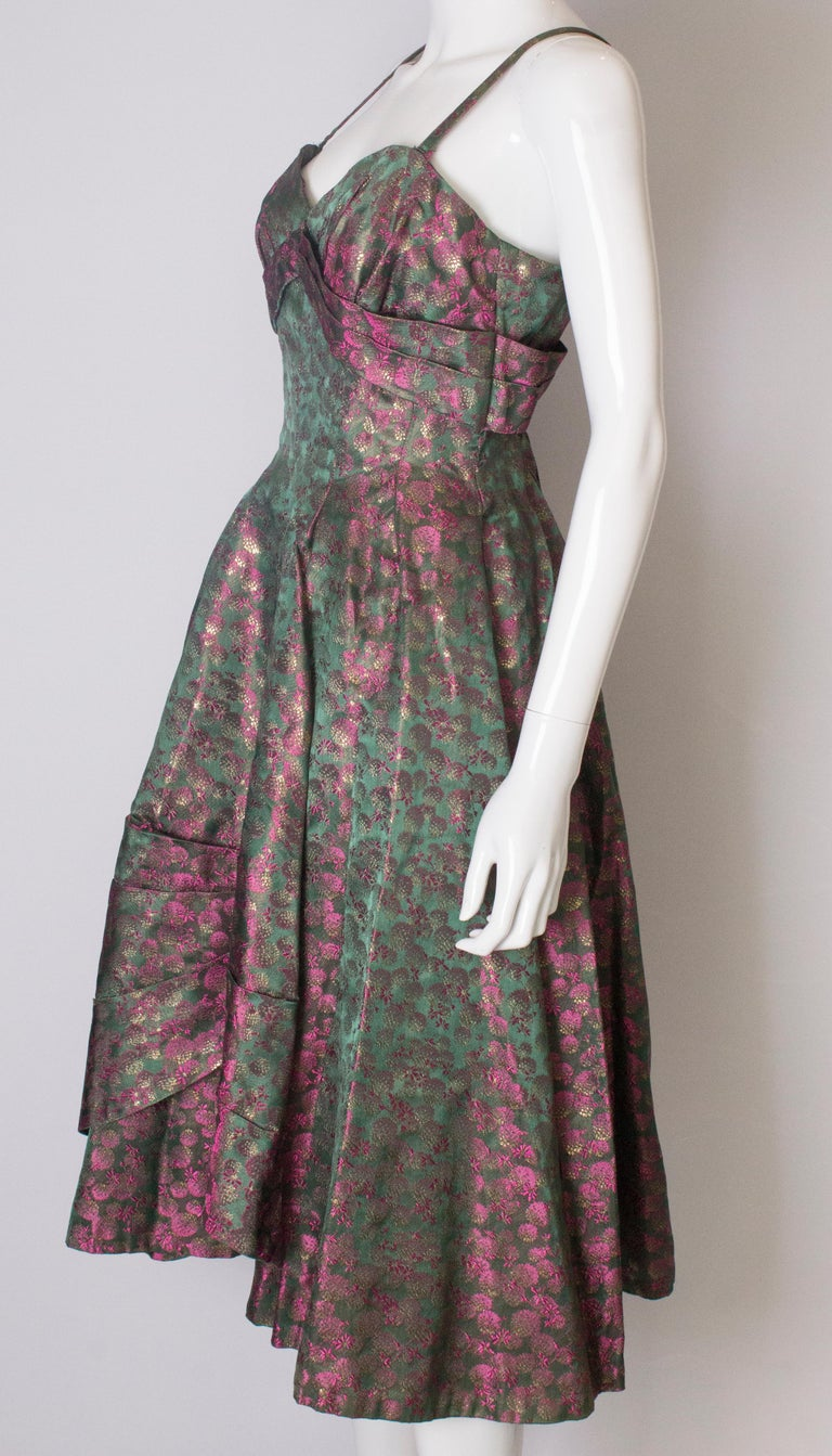 A Vintage 1950s brocade structured swing Cocktail Dress in Pink And Green For Sale 1