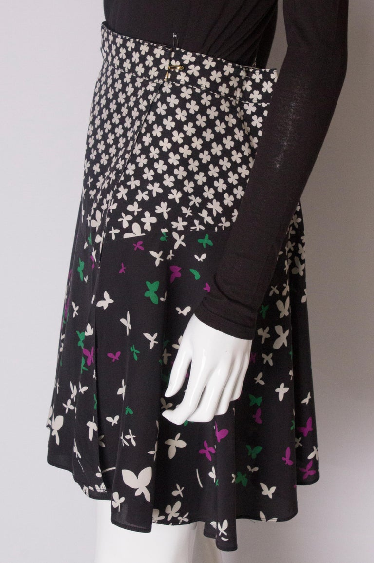 A vintage silk printed wrap over mini skirt by Yves Saint Laurent For Sale 1