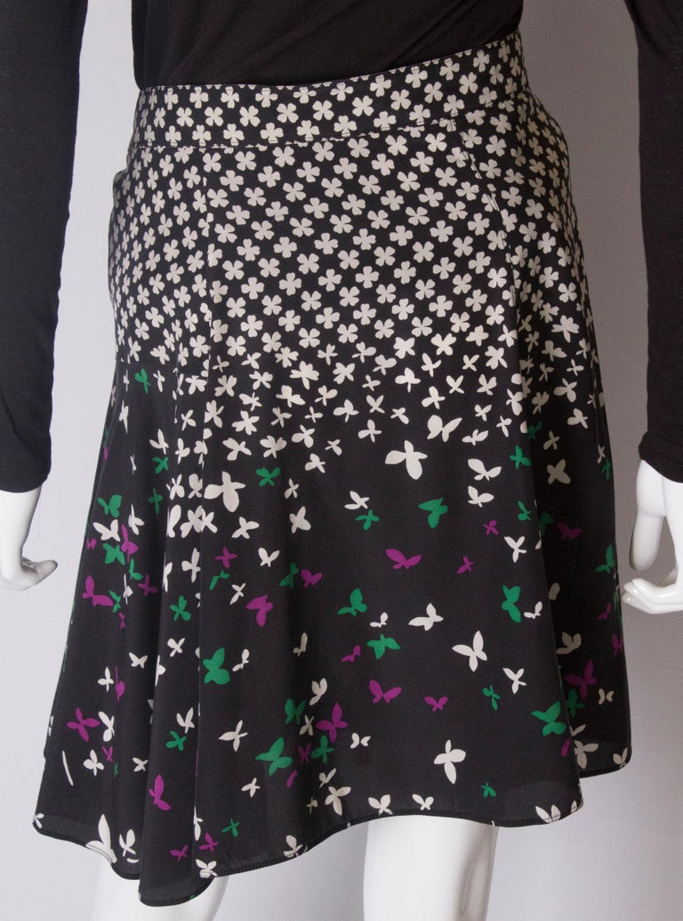 A vintage silk printed wrap over mini skirt by Yves Saint Laurent For Sale 3