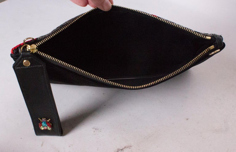 Black Embroidered Pouch Bag by Mame Huku For Sale