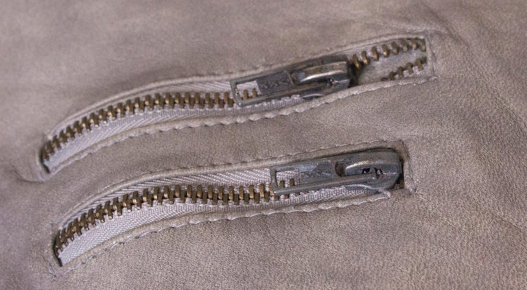 Gray Vintage Grey Leather Jacket For Sale