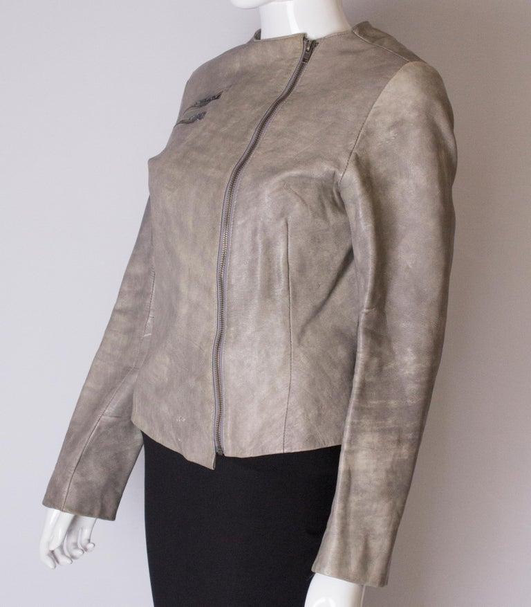 Women's or Men's Vintage Grey Leather Jacket For Sale